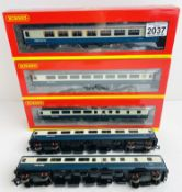 5x Hornby/Bachmann Blue/Grey Coaches including 'Nightcap Bar' Some lacking couplings Incorrect boxes