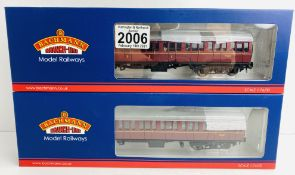 2x Bachmann (34-700C & 34-630B) Mk1 Suburban Coaches, BR Lined Maroon with Passengers Boxed P&P