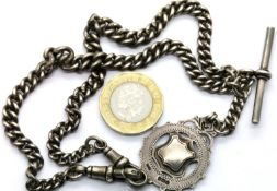 Silver Albert chain and fob Birmingham assay marks, 46g. P&P Group 1 (£14+VAT for the first lot