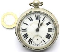 White metal late Victorian key wind pocket watch lacking seconds hand, D: 55 mm. P&P Group 1 (£14+