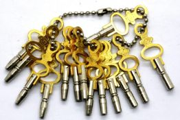 New old stock collection of 14 different sized pocket watch keys. P&P Group 1 (£14+VAT for the first