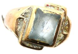 Presumed 9ct gold stone set ring, cut and damaged, 6.5g. P&P Group 1 (£14+VAT for the first lot