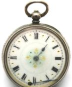 935 silver fob watch with enamel face. P&P Group 1 (£14+VAT for the first lot and £1+VAT for