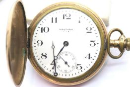 Waltham gold plated full hunter pocket watch, not working. P&P Group 1 (£14+VAT for the first lot