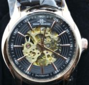 Henry Bridges new and boxed gents skeleton wristwatch on a leather strap. P&P Group 1 (£14+VAT for