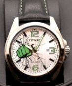 Gents Citizen Marvel Comics Hulk wristwatch. P&P Group 1 (£14+VAT for the first lot and £1+VAT for