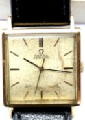 1960s square 9ct gold gents Omega Automatic wristwatch on a leather strap with steel back. P&P Group