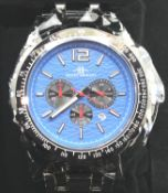 Henry Bridges new and boxed gents wristwatch with blue dial. P&P Group 1 (£14+VAT for the first