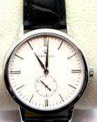 New boxed Ornake gents wristwatch with Japanese Mituyo movement and silver with white face. P&P