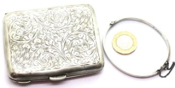 Hallmarked silver cigarette / card case and a silver bangle, combined 79g. P&P Group 1 (£14+VAT