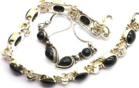 Boxed Whitby jet and silver bracelet and earringsset. P&P Group 1 (£14+VAT for the first lot and £