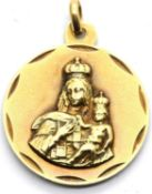 9ct gold Madonna and child pendant 5.0g, D: 22 mm. P&P Group 1 (£14+VAT for the first lot and £1+VAT