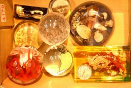 Collection of glass and Perspex paperweights, P&P Group 2 (£18+VAT for the first lot and £3+VAT
