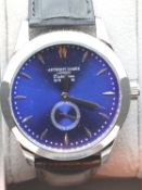 New boxed Anthony James blue faced wristwatch, requires battery. P&P Group 1 (£14+VAT for the