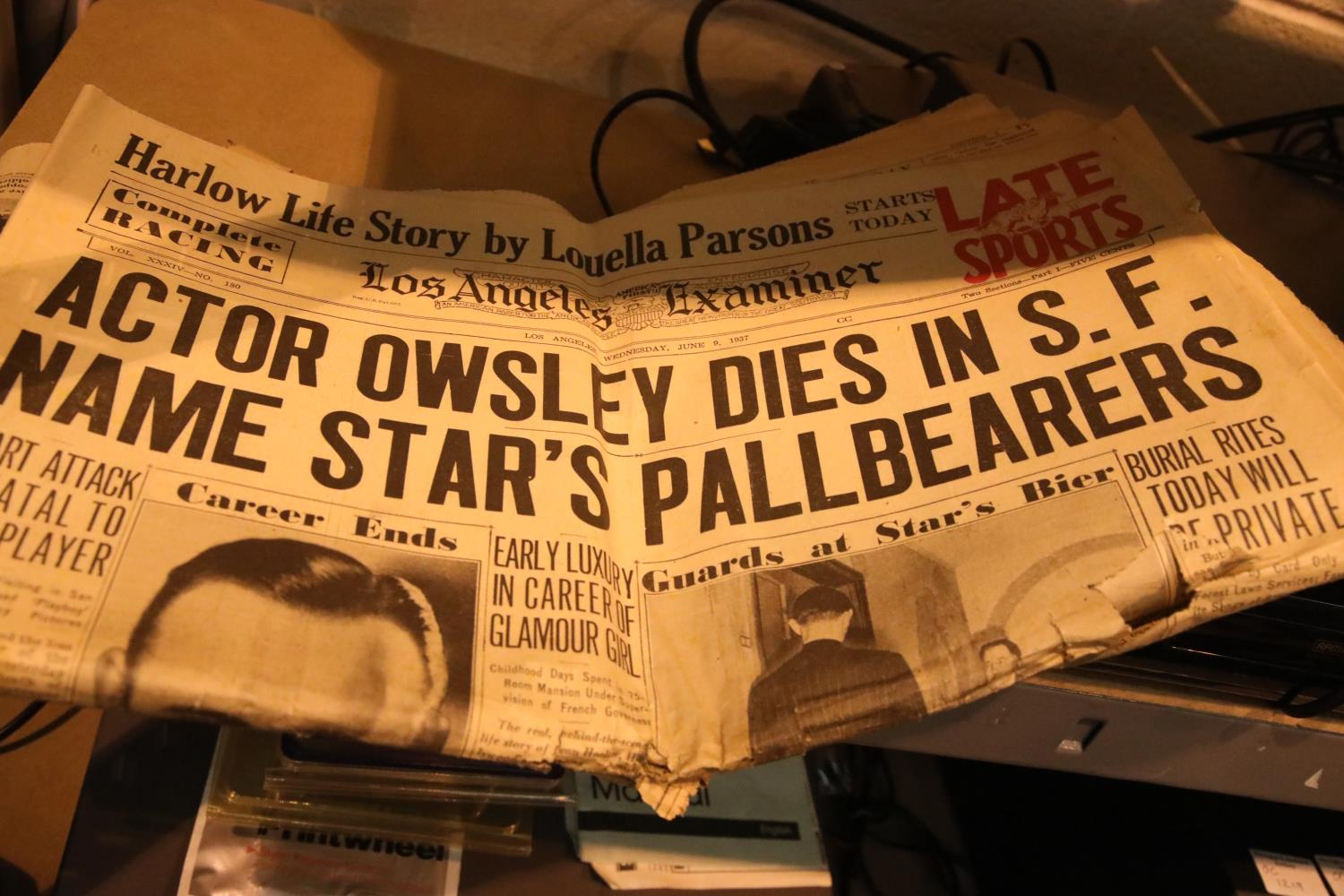 Two vintage newspapers, the Evening News 1927, Los Angeles Examiner 1937. P&P Group 1 (£14+VAT for