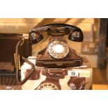 Black GPO Carrington, push button telephone in 1920s styling with pull-out pad tray; compatible with