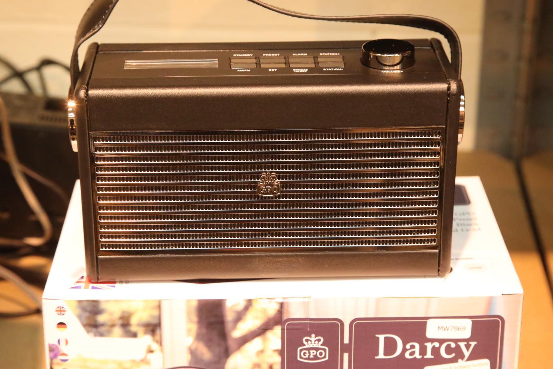 New GPO Darcy a portable analogue FM / AM radio with alarm clock. Old new stock. Preset 20 radio