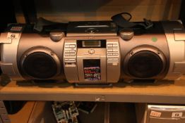 Portable JVC Boomblaster super twin ducts mix mixing guitar woofer CD system. Not available for in-