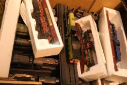 A box of collectable mounted model locomotives. Not available for in-house P&P, contact Paul O'Hea