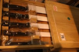 Wooden cased set of 5 kitchen knives. Not available for in-house P&P, contact Paul O'Hea at