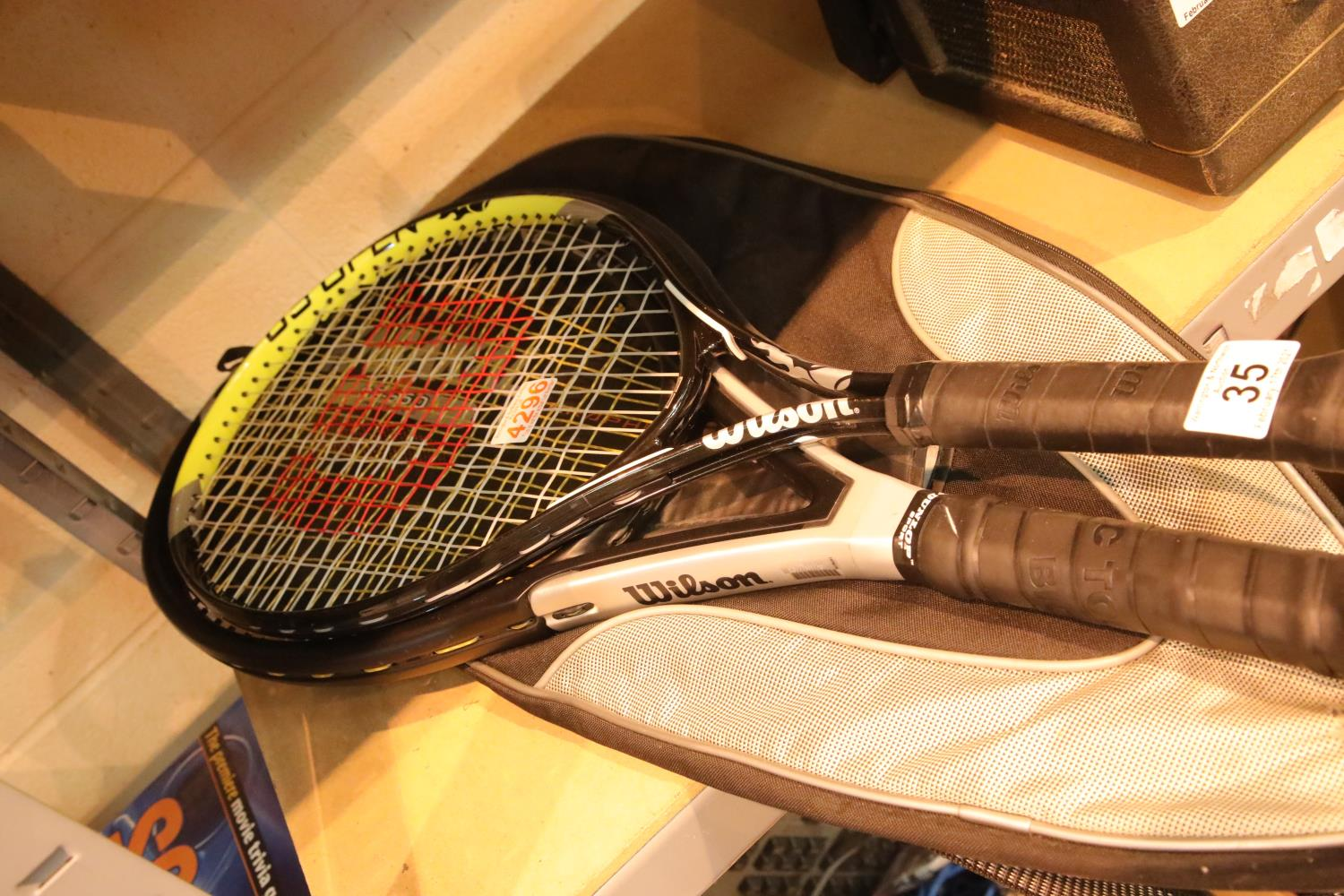 Wilson US Open and triad graphite tennis rackets and covers. P&P Group 3 (£25+VAT for the first