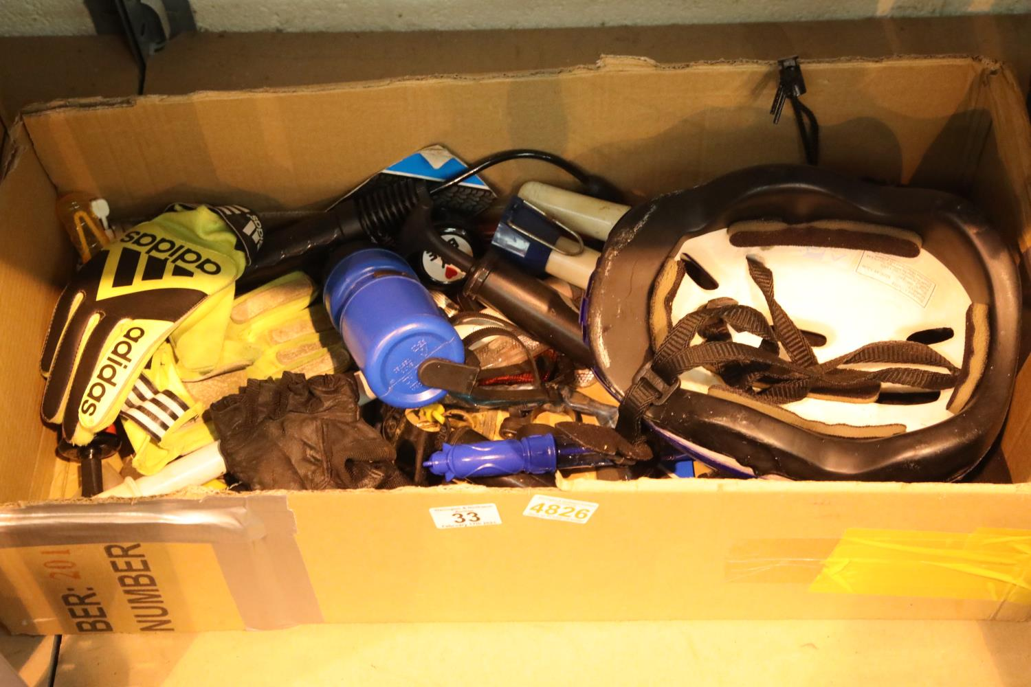 """Box of bike bits and a pair of 27"""" wheels one 7 speed and cog back wheel. Not available for in-house"""