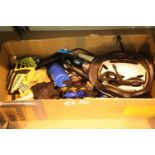 "Box of bike bits and a pair of 27"" wheels one 7 speed and cog back wheel. Not available for in-house"
