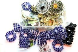 Quantity of ladies costume brooches and bangles. Not available for in-house P&P, contact Paul O'