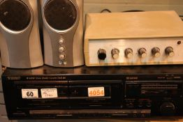 Teac W600R stereo double cassette deck and Genius Speakers. Not available for in-house P&P,