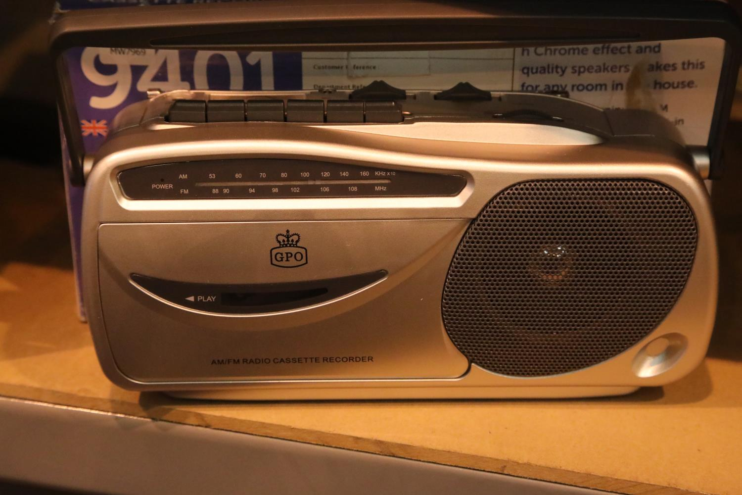 GPO9401 Radio Cassette Recorder with AM/FM Radio; boxed; working at time of lotting. P&P Group 2 (£