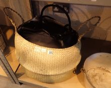 Straw basket of mixed scarves, gloves, bags etc. Not available for in-house P&P, contact Paul O'