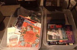 Two boxes of hardback volumes including books on aircraft, cars, car maintenance etc. Not