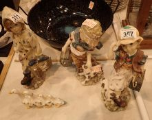 Three ceramic child figurines, one labeled Shudehill. Not available for in-house P&P, contact Paul