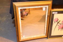 Large pine framed mirror, 50 x 40 cm. Not available for in-house P&P, contact Paul O'Hea at