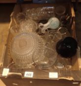 Box of mixed moulded and other glassware. Not available for in-house P&P, contact Paul O'Hea at