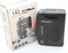 GPO Personal FM radio & cassette player; 3.5mm phone jack & 3V DC-in Jack; with built-in microphone,