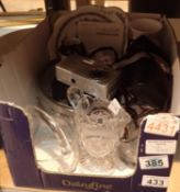 Box of mixed items including glass, ceramics, cameras etc. Not available for in-house P&P, contact
