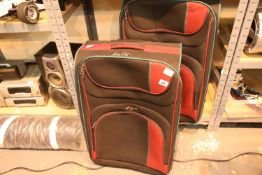 Two large canvas suitcases. Not available for in-house P&P, contact Paul O'Hea at Mailboxes on 01925