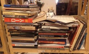 Shelf of mixed large format books. Not available for in-house P&P, contact Paul O'Hea at Mailboxes