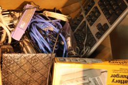 Box of computer leads, Cadmium battery charge etc. Not available for in-house P&P, contact Paul O'