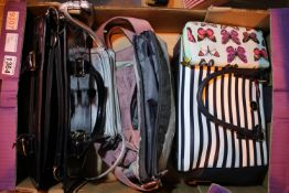 Box of ladies fashion handbags and purses. Not available for in-house P&P, contact Paul O'Hea at