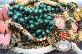 Tray of costume jewellery and ladies watches. Not available for in-house P&P, contact Paul O'Hea