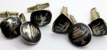 Three pairs of Siam silver cufflinks, total weight: 24g. P&P Group 1 (£14+VAT for the first lot
