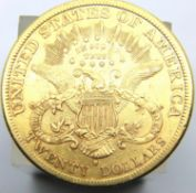 American 1880 Gold San Francisco mint 20 Dollar coin with fine definition. P&P Group 2 (£18+VAT