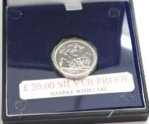 UK silver proof £20 coin, boxed. P&P Group 1 (£14+VAT for the first lot and £1+VAT for subsequent