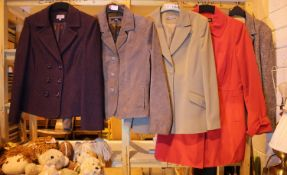 Five ladies cleaned jackets including a leather jacket. Not available for in-house P&P, contact Paul