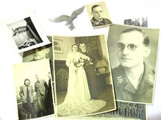 Photographs relating to an unknown German WWII Luftwaffe sergeant, together with a Luftwaffe eagle