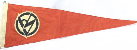 German Third Reich early reproduction large embroidered cotton SA pennant, stamped (indistinct) L: