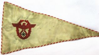 German Third Reich aged replica embroidered and braided NSKK pennant, L: 34 cm. P&P Group 1 (£14+VAT
