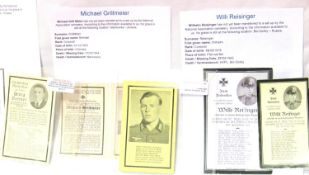 Three German WWII wartime obituary notice cards, relating to Wilhelm Reisinger, Michael Grillmeier